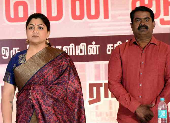 Seeman & Kushboo in Traffic Ramasamy