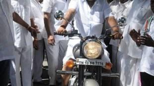 Vasan Rides On Party Cadre's Bike