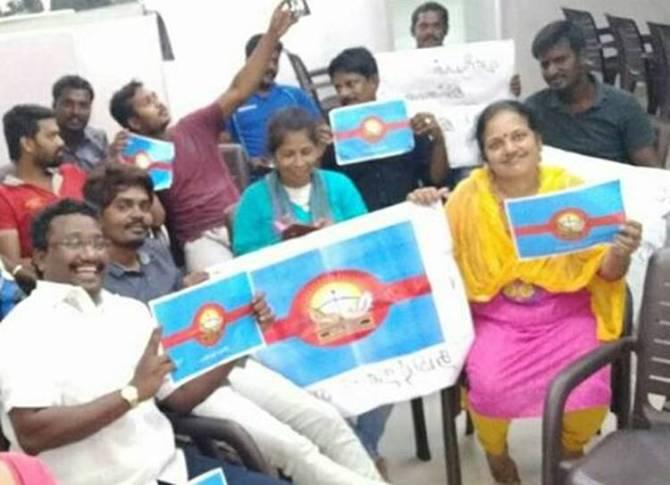 Cauvery Protest At Besant Nagar Beach, Marina