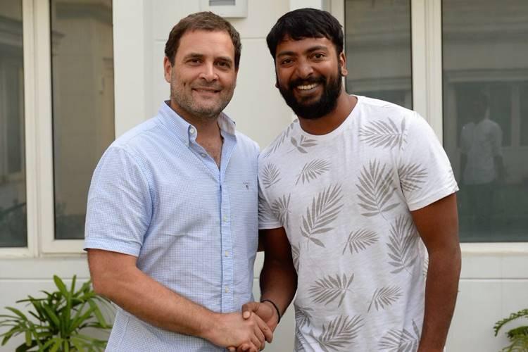 Rahul Gandhi meet kalaiarasan- ராகுல் காந்தி - நடிகர் கலையரசன் நேரில் சந்திப்பு