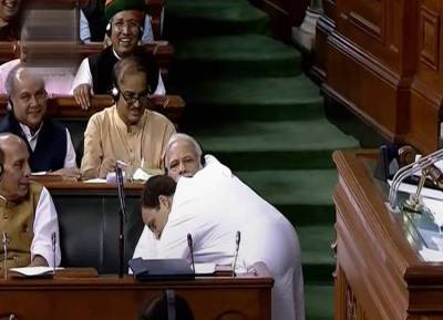 No-Confidence motion: Rahul Gandhi Hugs PM Modi