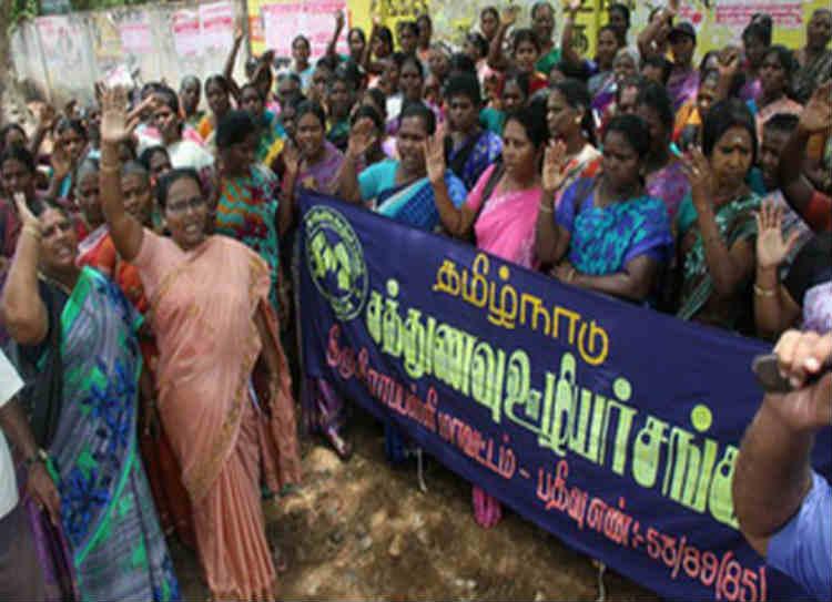 mid day meal staffs protest , சத்துணவு பணியாளர்கள் போராட்டம்
