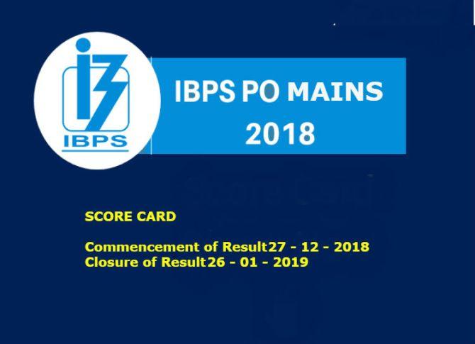 IBPS PO Mains 2018 Score Card