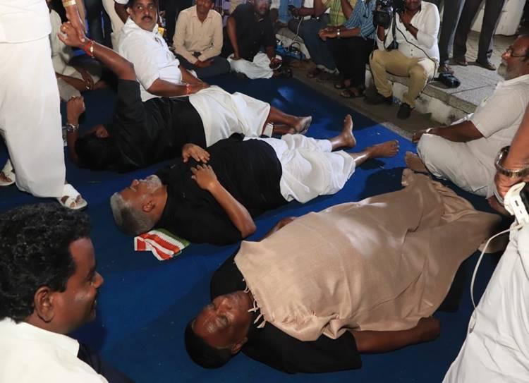 CM Narayanasamy Protests against Kiran Bedi