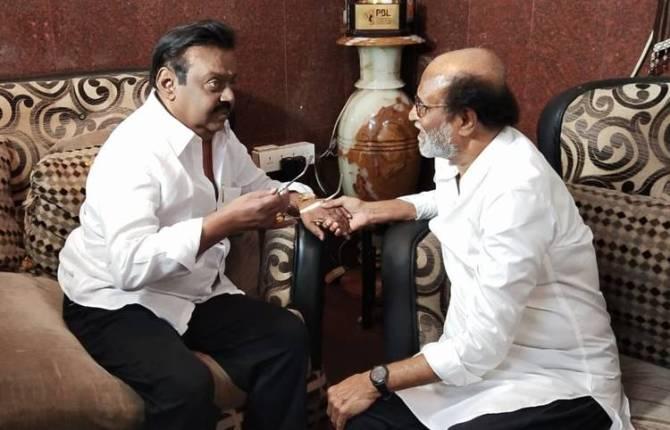 rajinikanth Met DMDK Chief Vijayakanth- விஜயகாந்தை சந்தித்த ரஜினிகாந்த்