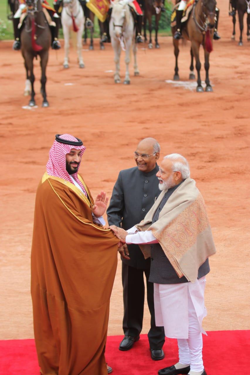Modi welcomes Saudi Crown Prince Mohammad Bin Salman