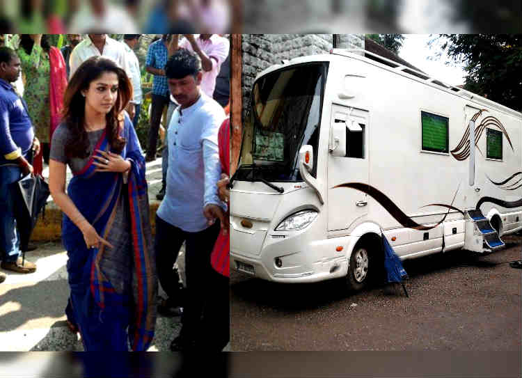 nayanthara caravan checked by police, நயன்தாரா