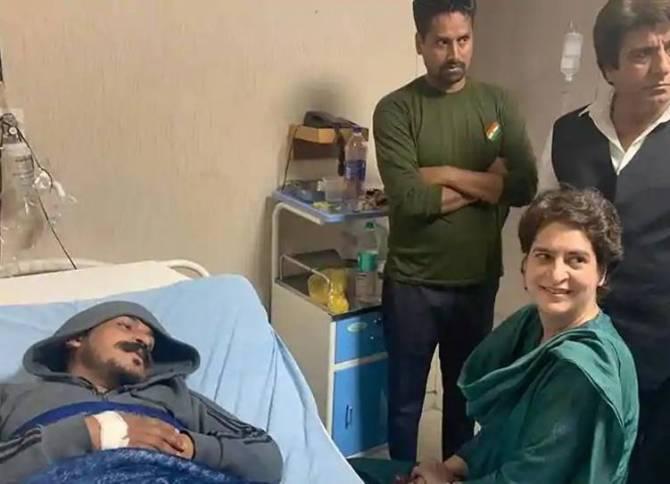 Priyanka Gandhi Vadra met Bhim army chief Chandrashekhar azad in meerut, uttar pradesh