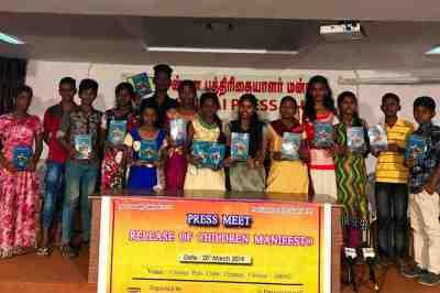 Children's Election Manifesto, Arunodhaya center, Unicef, Parliment Election 2019, Lok Sabha Elections 2019, Street Children, Chennai Street Children - அருணோதயா, யூனிசெப், குழந்தை தொழிலாளர்கள், நாடாளுமன்ற தேர்தல், மக்களவை தேர்தல், எடப்பாடி கே பழனிசாமி, ஸ்டாலின். திமுக, அதிமுக