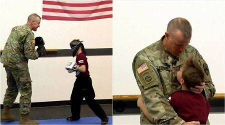 Military Dad surprise his son