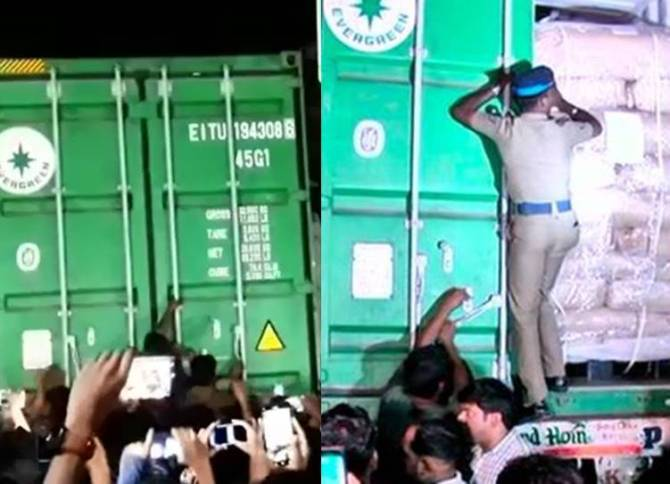 Green Colored Container Caught in Coimbatore