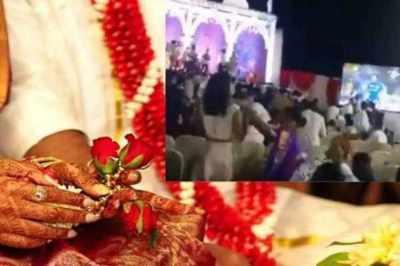 ரொம்ப ஓவரா போறீங்கய்யா!! : திருமண வரவேற்பில் ஒளிபரப்பப்பட்ட ஐபிஎல் போட்டி