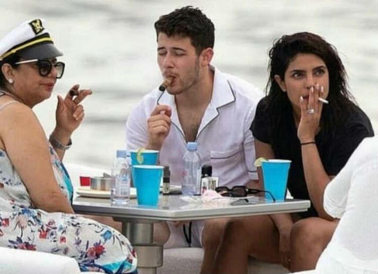 Priyanka Chopra Smoking with her husband nick jonas and mother madhu chopra