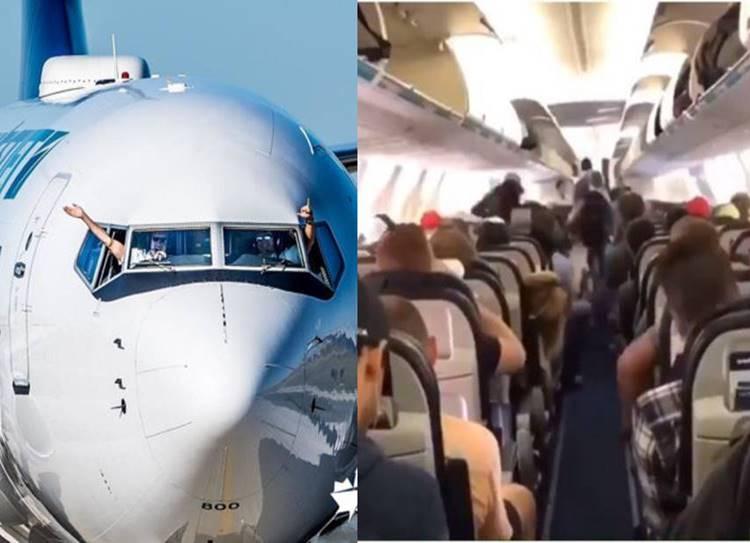 Canadian flight passengers deboarding aircraft
