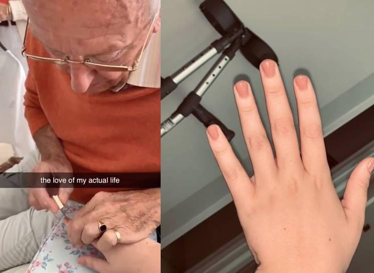Grandpa painting grand daughter's nails viral video