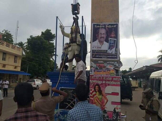 Ambedkar statue damaged in Vedaranyam