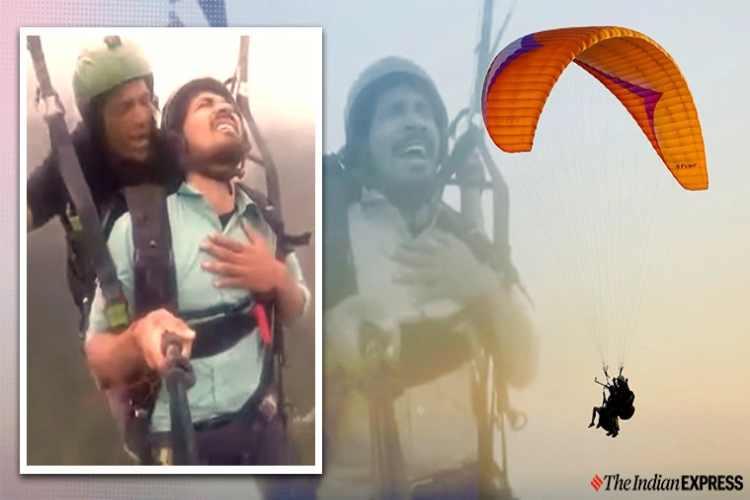 paragliding viral video, paragliding viral video twitter reactions, paragliding man viral video, funny video