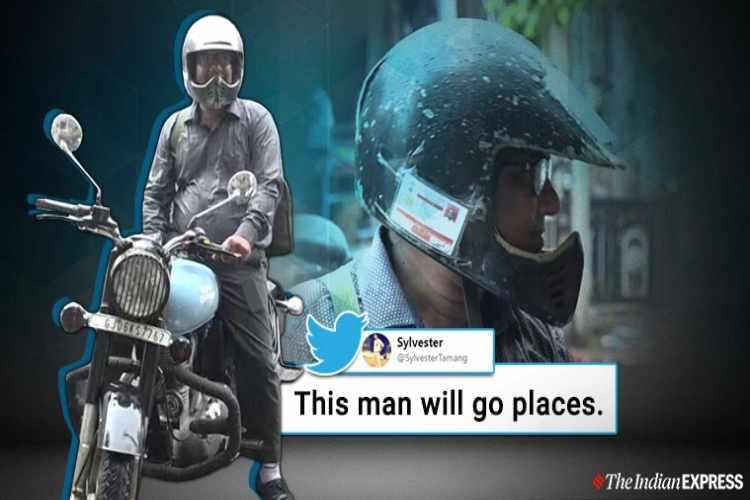 new traffic rules 2019. Vadodara Man Sticks Driving License on helmet, Vadodara helmet viral story, Gujarat, motor vehicle act, trending, indian express