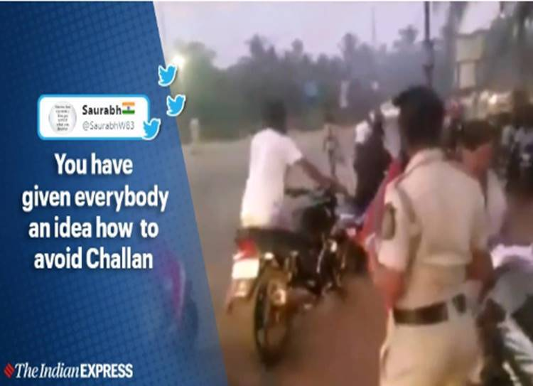 people walking with bike without helmet police shocks viral video - எங்க புள்ளைங்க எல்லாம் பயங்கரம்! - டிராபிக் போலீஸுக்கே பெப்பே காட்டிய வாகன ஓட்டிகள்