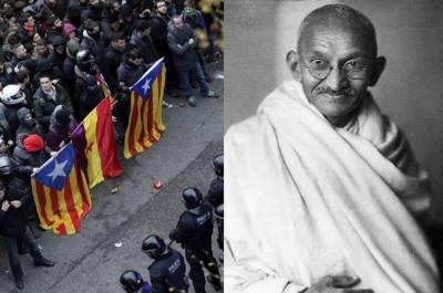 Gandhian idea of non-violence, Catalonia Referendum