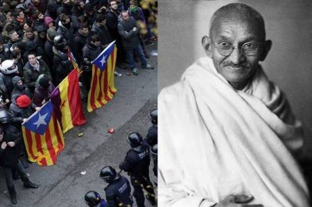 Gandhian idea of non-violence, Catalonia Referendum