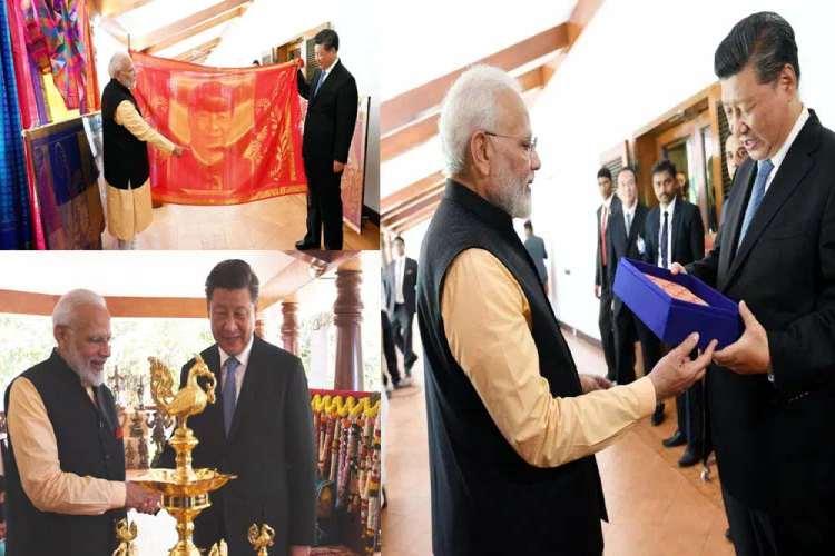 silk portrait of xi jinping, modi xi chennai summit, modi xi meeting, modi xi summit, narendra modi, xi jinping,
