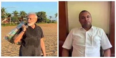 PM Modi Plogging at beach in Mamallapuram, PM Modi collected plastic wastes video, PM Modi collected plastic wastes controversy by Karti Chidambaram tweet,கார்த்தி சிதம்பரம், பிரதமர் மோடி, கடற்கரையில் பிளாஸ்டிக் குப்பைகளை சேகரித்த பிரதமர் மோடி, நடந்தது என்ன? what happened really in PM Modi Plogging at beach, PM Modi, Congress MP Karti Chidambaram, BJP, Congress,