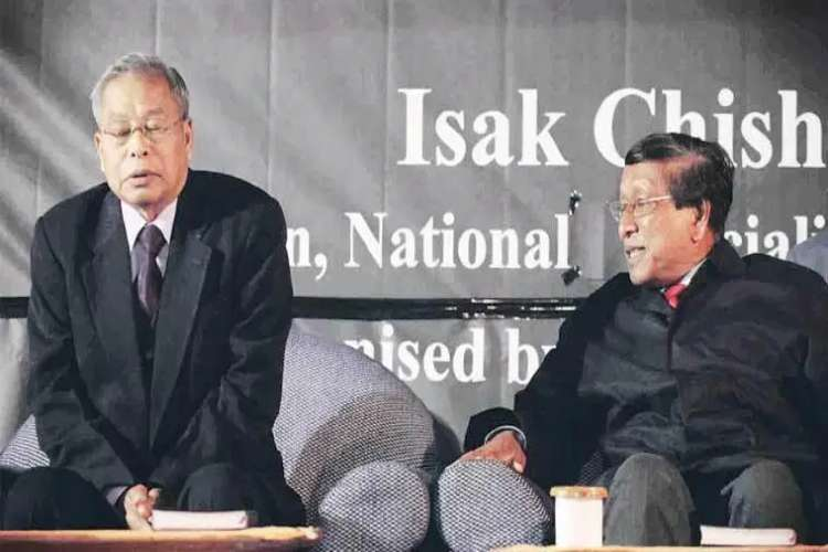 NSCN (I-M) leaders Isak Chishi Swu (now deceased) and Thuingaleng Muivah at a reception in Delhi in January 2011
