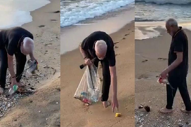 modi cleanning beach video