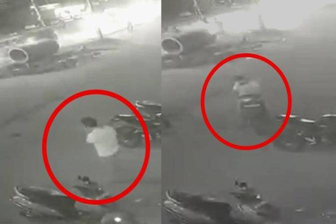 pallikaranai theft bike return incident, cctv video viral , pallikaranai cctv video,