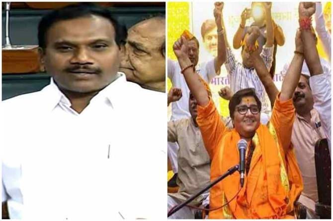 DMK MP A.Raja remarks on Godse murder of Gandhi, DMK MP A.Raja, கோட்சே பற்றி பேசிய திமுக எம்.பி ஆ.ராசா, பாஜக எம்.பி பிரக்யா சிங் தாக்கூர் ஆ.ராசாவுக்கு எதிர்ப்பு, BJP MP Pragya Thakur callig Godse patrot in Lok Sabha, Pragya Thakur interrupts DMK MP's remarks on Godse, lok sabha