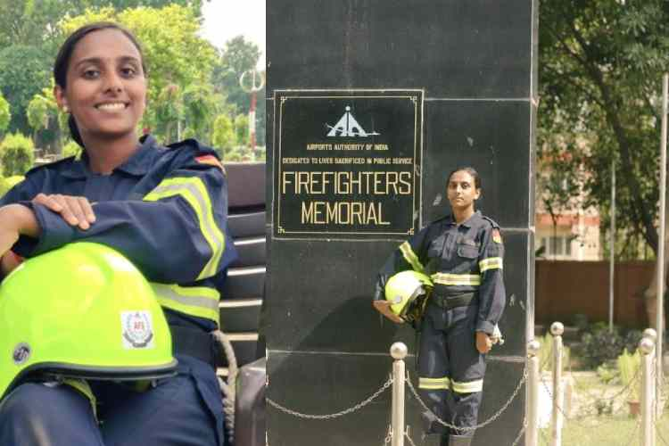 remya sreekantan, firefighter, first female firefighter, female firefighter, kerala firefighter, kerala femail firefighter, aai, afs, ftc, airport authority of india, first woman firefighter of south india, first female firefighter,remya, kerala women remya, முதல் தீயணைப்பு வீராங்கனை, ரெம்யா, சென்னை விமான நிலையம், Chennai airport, Airport Authority of India, airport fire service, female firefighters
