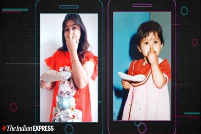 tiktok, tiktok videos, #childhoodmemories, tiktok challenges, reenact childhood pictures, trending, indian express news