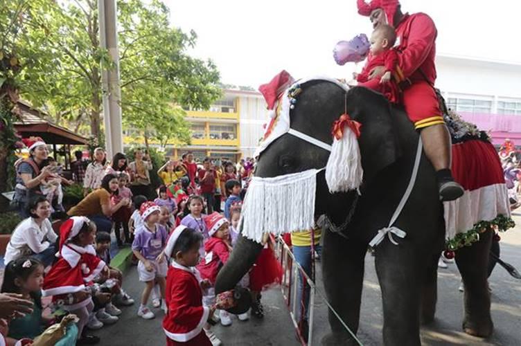 Christmas 2019 Viral video Elephants turn Santa for children in Thai school