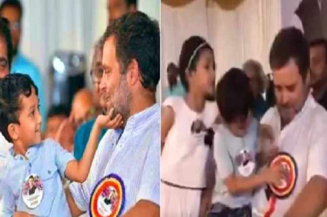 congress, rahul gandhi, rahul gandhi in wayanad, congress rally, kid , kid play, video, viral