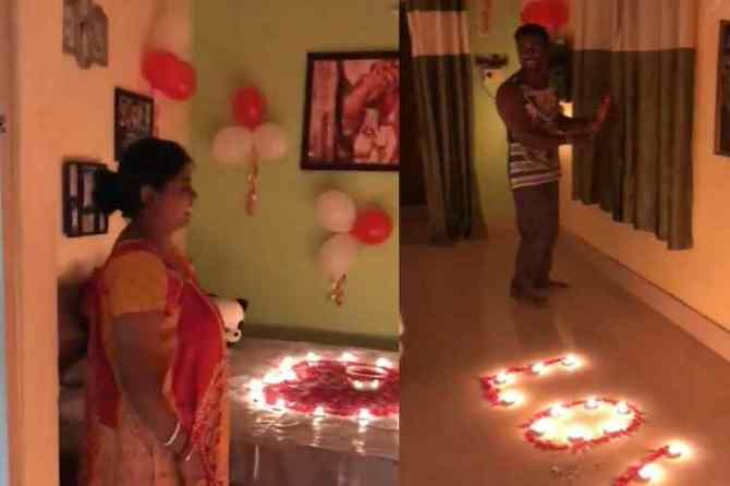 wife celebrates husband birthday wife celebrates husband birthday surpraisingly, கனவரின் பிறந்தநாளை கொண்டாடிய மனைவி, வைரல் வீடியோ, wife celebrates husband birthday viral video,
