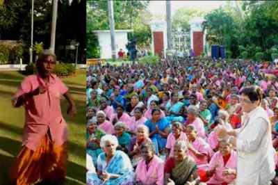 Kiran Bedi, Kiran Bedi Lt Governor Puducherry, Puducherry union state, puducherry, pongal celebration,கிரண் பேடி, புதுச்சேரி, பொங்கல் கொண்டாட்டம், ரவுடி பேபி பாட்டுக்கு நடனம் ஆடிய மூதாட்டி, puducherry municipolity staff pongal celebration, old woman dancing to rody baby song, துப்புரவு பணியாளர் பெண்களுடன் நடனம் ஆடிய கிரண் பேடி, kiran bedi dancing with corp staff, kiran bedi celebrates pongal with corp staff, old woman dancing to rowdi baby song
