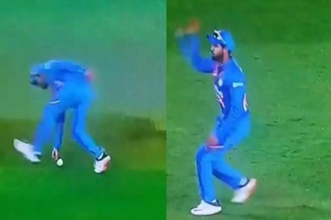 Manish Pandey, fake fielding at Auckland ind vs nz - மனீஷ் பாண்டே ஏமாத்து வேலை - பெனால்டியில் இருந்து தப்பித்த இந்தியா (வீடியோ)