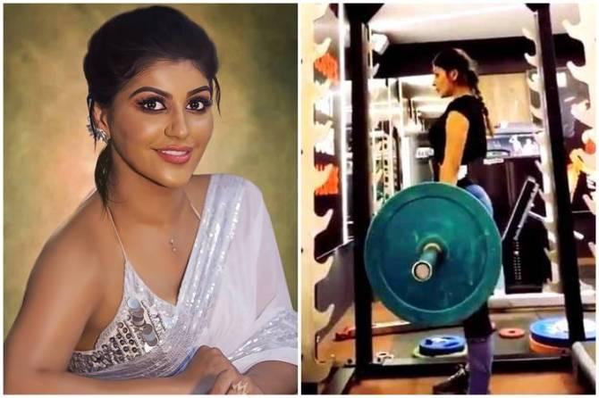 actress yashika aannand, yashika aannand, yashika, yashika workout in gym, யாஷிகா ஆனந்த், யாஷிகா, யாஷிகா உடற்பயிற்சி செய்யும் வீடியோ, யாஷிகா ஃபிட்னஸ் வீடியோ, வைரல் வீடியோ, yashika aannand weight lift in gym yashika weight lift in gym, yashika fitness video, yashika fitness video goes viral