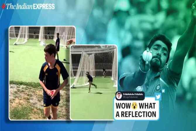 New Zealand boy bowling like jaspirt bumrah, பும்ரா போல பந்து வீசும் நியூஸிலாந்து சிறுவன், வைரல் வீடியோ, New Zealand boy imitate jaspirt bumrah, indian fast bowler jasprit bumrah, viral video, new zealand boy bowling viral video