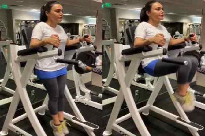 Preity Zinta, Preity Zinta indianexpress.com, Preity Zinta fitness, பிரீத்தி ஜிந்தா, பிரீத்தி ஜிந்தா ஜிம்மில் வொர்க் அவுட் செய்யும் வீடியோ, வைரல் வீடியோ, celeb fitness, fitness goals, Preity Zinta news, Preity Zinta workout, Preity Zinta viral video, Preity Zinta diet, Preity Zinta fitness tips