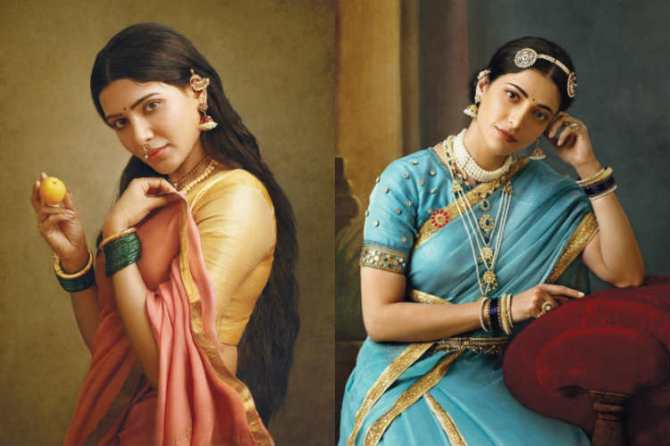 Raja Ravi Varman's Painting Recreation samantha Shruti haasan