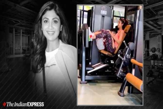 shilpa shetty, shilpa shetty fitness, shilpa shetty workout video, shilpa shetty son viaan, fitness, workout, leg press workout benefits, how to do leg press