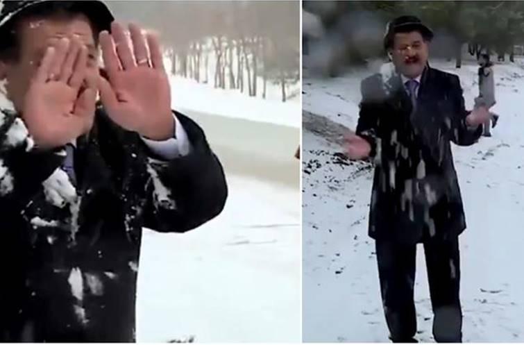 Viral Trending Video weatherman braving snow attack