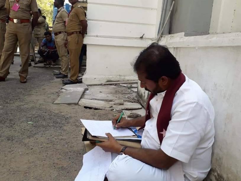 thamimum ansari mla dharna at TN assembly against caa