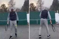 Roger Federer Practises Trick Shots in Snow corona lockdown video