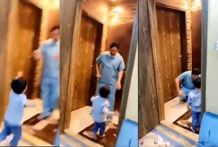 coronavirus outbreak saudi doctor stops his son from hugging him