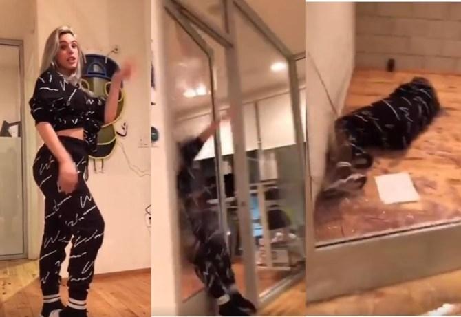 TikTok viral video Lele Pons broken glass door and fell down