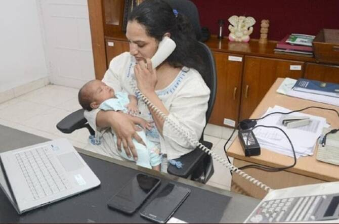 IAS officer Gummala Srijana returned to office with her 22-days old kid