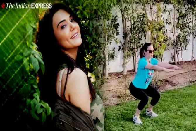 preity zinta workout, பிரித்தி ஜிந்தா, preity zinta, பிரித்தி ஜிந்தா உடற்பயிற்சி வீடியோ, preity zinta bottle squat challenge, இன்ஸ்டாகிராம், வைரல் வீடியோ, squats, celeb fitness